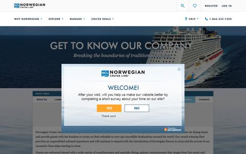 Screenshot of About Page ncl.com - About Norwegian Cruise Line | Learn About Norwegian Cruise Lines & Freestyle Cruising - captured July 23, 2019