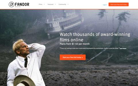 Screenshot of Home Page fandor.com - Watch Movies and Documentary Films Anywhere You Want | Fandor - captured June 17, 2015