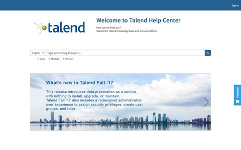 Welcome to Talend Help Center