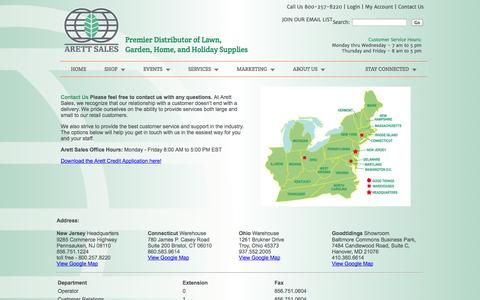 Screenshot of Contact Page arett.com - Arett Sales - Premier Distributor of Lawn, Garden, Home, and Holiday Supplies | 800 257-8220 - captured Oct. 4, 2014