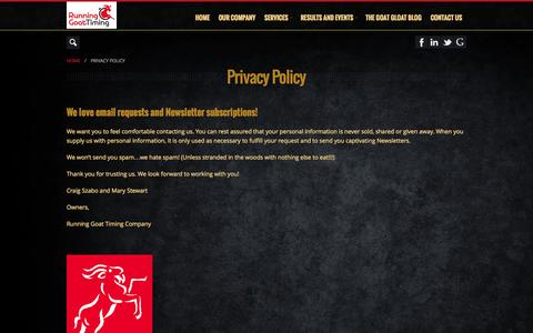 Screenshot of Privacy Page runninggoattiming.com - Privacy Policy Running Goat Timing - captured Oct. 9, 2014