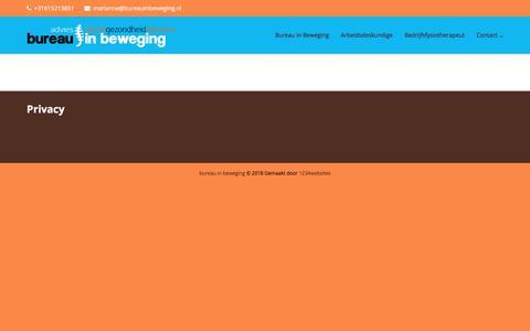 Screenshot of Privacy Page bureauinbeweging.nl - Privacy - bureau in beweging - captured Aug. 4, 2018