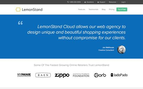 Screenshot of Testimonials Page lemonstand.com - The Best Cloud eCommerce Platform | Testimonials for LemonStand | LemonStand - captured Sept. 16, 2014