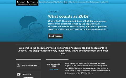 Screenshot of Blog artisan-accounts.co.uk - Blog | Artisan Accounts - captured Oct. 4, 2014