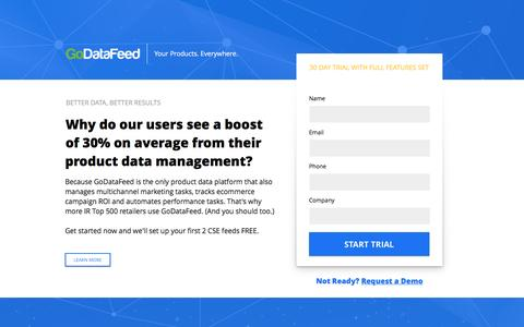 Screenshot of Landing Page godatafeed.com - Product Data Management - Product Data Feed Automation - captured Nov. 23, 2016