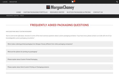 Screenshot of FAQ Page morganchaney.com - Frequently Asked Questions about Custom Printed Packaging - captured Sept. 21, 2018