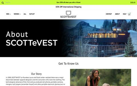 Screenshot of About Page scottevest.com - About Us - captured Jan. 17, 2018