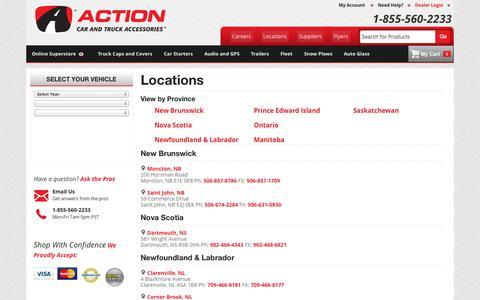 Screenshot of Locations Page actiontrucks.com - Locations - captured Sept. 23, 2014
