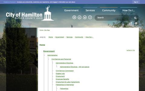 Screenshot of Site Map Page hamilton-city.org - Hamilton, OH - captured Dec. 12, 2018
