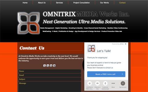 Screenshot of Contact Page omnitrixmediaworks.com - Contact | Omnitrix Media Works | - captured Oct. 20, 2018