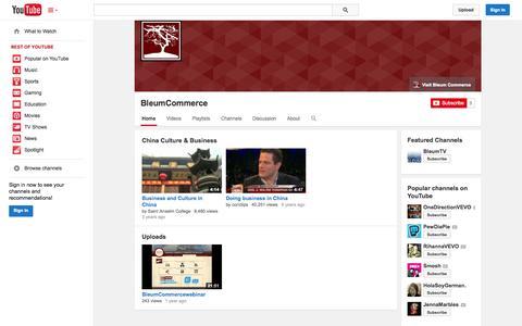 Screenshot of YouTube Page youtube.com - BleumCommerce  - YouTube - captured Oct. 23, 2014