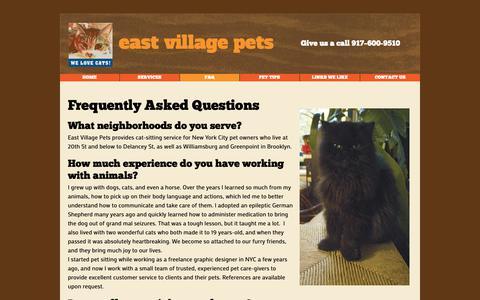 Screenshot of FAQ Page eastvillagepets.com - East Village Pets FAQ - captured Oct. 23, 2018
