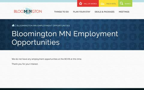 Screenshot of Jobs Page bloomingtonmn.org - Learn about the job opportunities at Bloomington Convention and Visitors Bureau. - captured Nov. 22, 2016