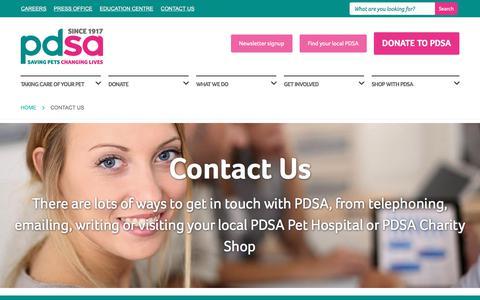 Screenshot of Contact Page pdsa.org.uk - Contact Us - PDSA - captured July 14, 2018
