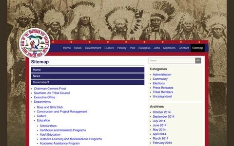 Screenshot of Site Map Page southernute-nsn.gov - Southern Ute Indian Tribe | Sitemap - captured Oct. 6, 2014