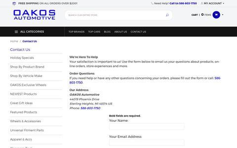 Screenshot of Contact Page oakos.com - OAKOS Automotive: Contact Us - captured April 3, 2018