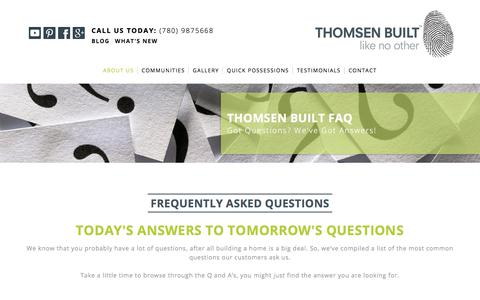 Screenshot of FAQ Page thomsenbuilt.com - FAQ | Thomsen Built - captured Sept. 21, 2018