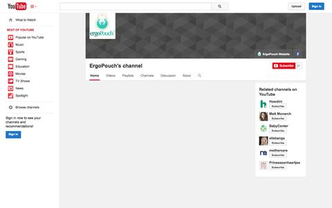 Screenshot of YouTube Page youtube.com - ErgoPouch's channel  - YouTube - captured Oct. 23, 2014