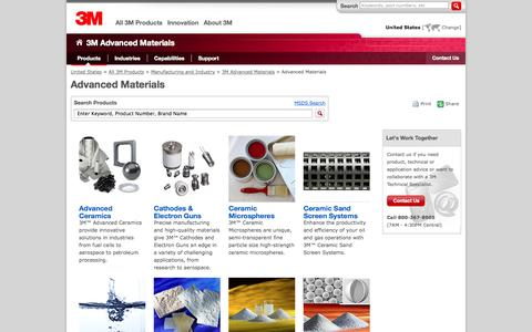 Screenshot of Products Page 3m.com - Advanced Materials:   Advanced Materials Division: 3M United States - captured Oct. 22, 2014