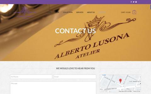 Screenshot of Contact Page albertolusona.com - Contact - Atelier Alberto Lusona - captured Feb. 6, 2016