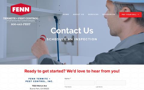 Screenshot of Contact Page fennpest.com - Schedule An Inspection — Fenn Pest & Termite Control - captured Feb. 9, 2016
