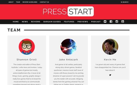 Screenshot of Team Page press-start.com.au - Team | Press Start Australia - captured Jan. 31, 2016