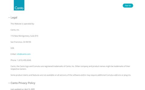 Privacy Policy - Canto