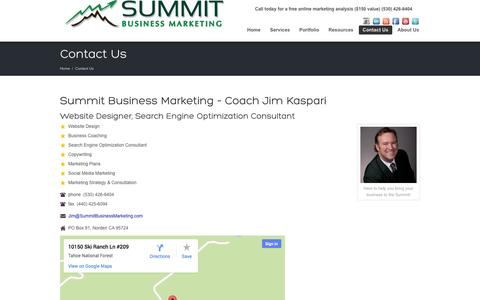 Screenshot of Contact Page summitbusinessmarketing.com - Business Coach Website Design Search Engine Optimization Consultant | - captured Sept. 30, 2014