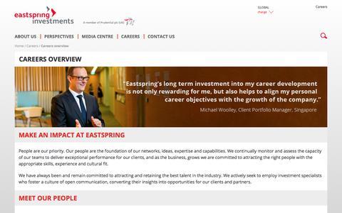 Screenshot of Jobs Page eastspring.com - Careers Overview | Eastspring Investments - captured Nov. 20, 2017