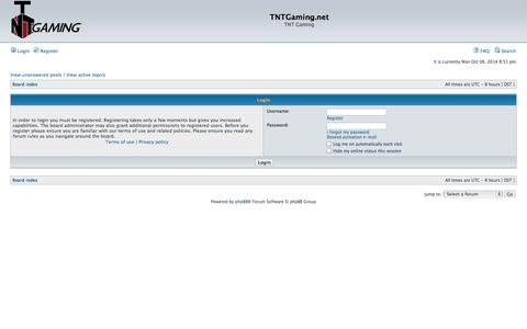 Screenshot of Login Page tntgaming.net - TNTGaming.net • User Control Panel • Login - captured Oct. 7, 2014