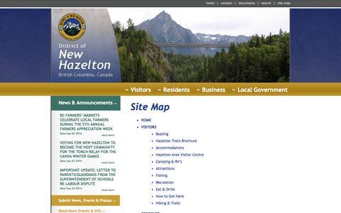 Screenshot of Site Map Page newhazelton.ca - New Hazelton - captured Oct. 5, 2014