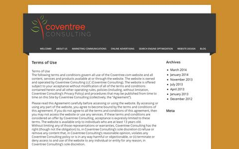 Screenshot of Terms Page coventree.com - Terms of Use » Coventree Consulting LLC - captured Oct. 3, 2014