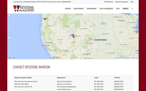 Screenshot of Contact Page keystoneaviation.com - Contact Keystone Aviation - Keystone Aviation - captured Jan. 9, 2016