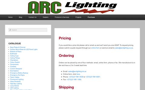 Screenshot of Pricing Page arclighting.co.za - Purchasing - ARC Lighting cc - captured May 30, 2017