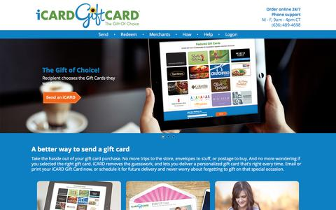 Screenshot of Home Page icardgiftcard.com - iCARD Gift Card  - Emailable Gift Cards & Gift Certificates - captured Aug. 6, 2016
