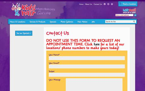 Screenshot of Contact Page kidshairinc.com - Contact Kids Hair | Kids Haircuts Salons | Kids' Hair Inc. - captured Sept. 23, 2018