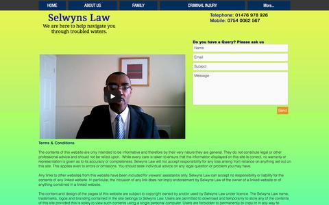 Screenshot of Terms Page selwynslaw.com - selwynslaw | TERMS & CONDITIONS - captured June 18, 2017