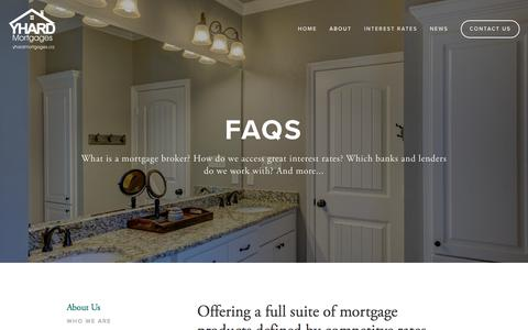 Screenshot of FAQ Page yhardmortgages.ca - FAQs | What is a mortgage broker? How do I get superior interest rates? — Yhard Mortgages - captured Oct. 18, 2017