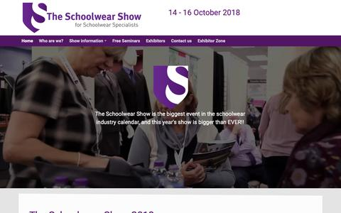 Screenshot of Home Page theschoolwearshow.co.uk - The Schoolwear Show - captured Oct. 26, 2018