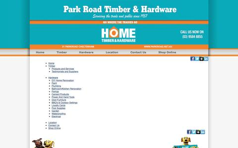 Screenshot of Site Map Page parkroad.net.au - Site Map | Park Road Timber & Hardware - captured Oct. 21, 2016
