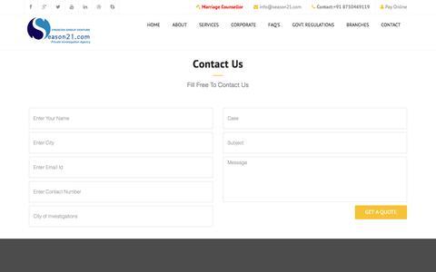 Screenshot of Contact Page season21.com - Contact Us   Detective Agency in Dwarka, Season21.com - captured Oct. 17, 2016
