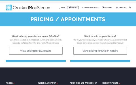 Screenshot of Pricing Page Locations Page crackedmacscreen.com - Broken iPhone Macbook Cracked Screen Repair Replacement | CrackedMacScreen - captured Nov. 13, 2016