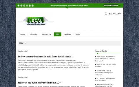 Screenshot of FAQ Page dotcomsecretstx.com - FAQ   Local Marketing Company Dallas, TX - captured Oct. 5, 2014