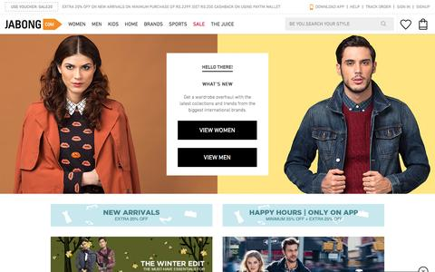 Screenshot of Home Page jabong.com - Online Shopping India: Shop Shoes, Clothing, Bags, Watches Online in India - captured Dec. 3, 2015