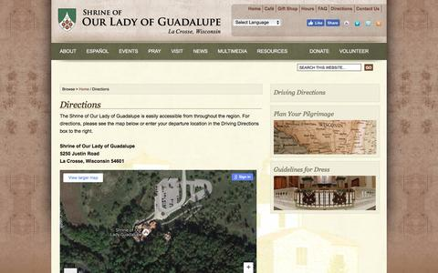 Screenshot of Maps & Directions Page guadalupeshrine.org - Directions : Shrine of Our Lady of Guadalupe - captured Nov. 29, 2016