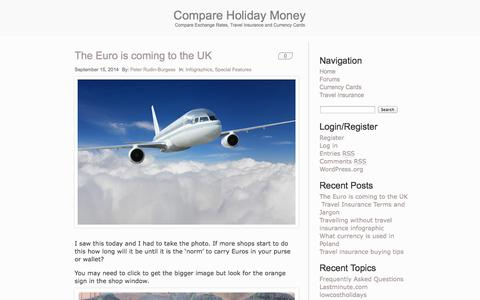 Screenshot of Blog compareholidaymoney.com - Compare Holiday Money - Compare Exchange Rates, Travel Insurance and Currency Cards - captured Sept. 24, 2014