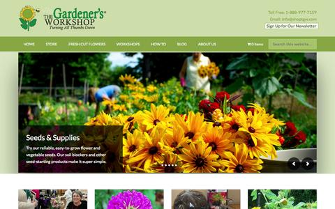 Screenshot of Home Page thegardenersworkshop.com - The Gardeners Workshop – turning all thumbs green - captured Aug. 15, 2015