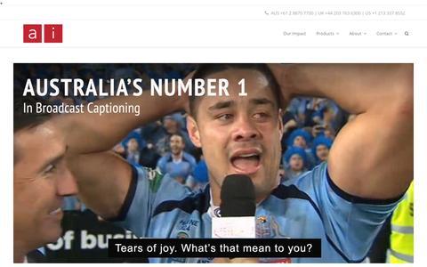Screenshot of Home Page ai-media.tv - Live, Offline Video Captioning and Transcription | Ai-Media - captured Oct. 2, 2015