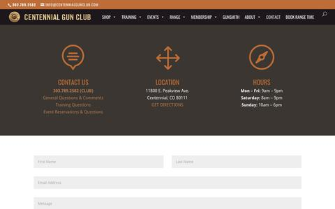 Screenshot of Contact Page centennialgunclub.com - Contact | Centennial Gun Club - captured July 16, 2018