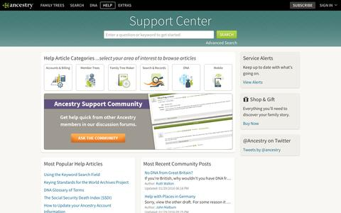 Screenshot of Support Page ancestry.com - Support Home Page - captured Jan. 29, 2016